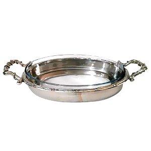 Refratário de Vidro Oval com Suporte de Alumínio - 46 cm