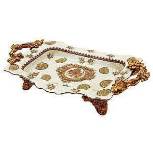 Bandeja Decorativa de Cerâmica - 48 x 32 cm