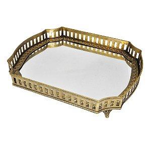 Bandeja Retangular Decorativa Dourada com Fundo de Espelho - 39 x 32 cm
