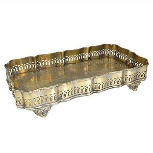 Bandeja Retangular Decorativa Dourada - 41 x 23 cm