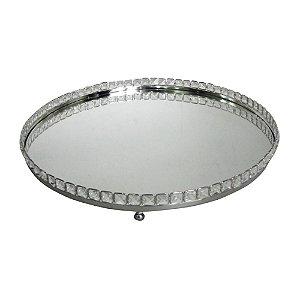 Bandeja Redonda Decorativa Prata com Pedras Espelhadas - 51 cm