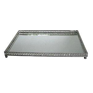 Bandeja Retangular Decorativa Prata com Pedras Espelhadas - 60 x 15 cm