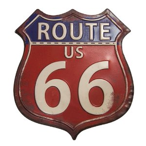 Placa Decorativa de Ferro Route US - 66 - 30 x 26 cm