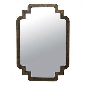 Espelho Decorativo com Moldura de Madeira Escura Design Retrô Anos 60 - 120 x 80 cm