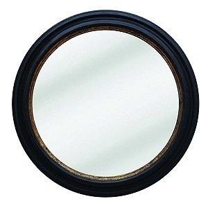 Espelho Redondo Decorativo com Moldura de Madeira Preta - 88 cm