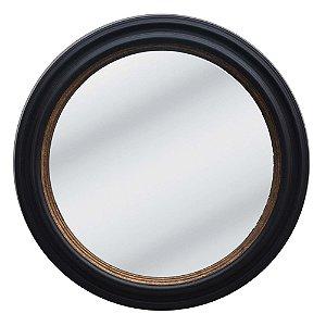 Espelho Redondo Decorativo com Moldura de Madeira Preta - 70 cm