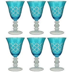 Conjunto de Taças para Vinho Branco Azul Turquesa 16 cm - 6 Peças