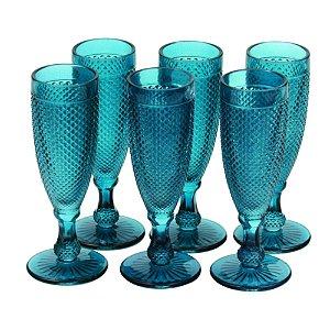 Conjunto de Taças Bico de Jaca Azul 18 cm - 6 Peças