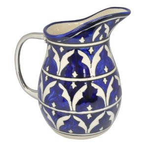 Jarra de Cerâmica Azul / Branca com Alça em Metal - 20 cm