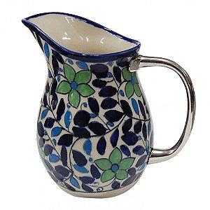 Jarra de Cerâmica Azul / Verde / Branca com Alça em Metal - 20 cm