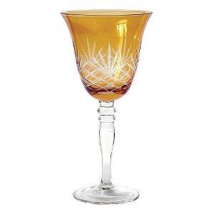 Conjunto de Taças Âmbar com Lapidação de Feixes Transparentes 380 ml - 6 Peças