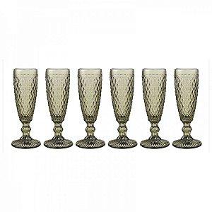 Conjunto de Taças Bico de Abacaxi Verde Escuro 17 cm - 6 Peças