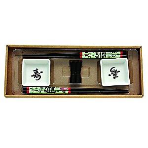 Kit Comida Japonesa para 2 pessoas Branco / Preto - 6 Peças