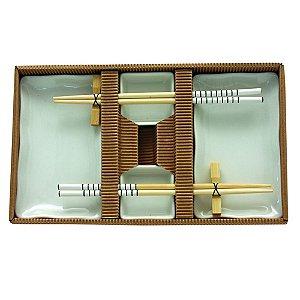 Kit Comida Japonesa para 2 pessoas de Porcelana e Madeira - 8 Peças