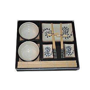 Kit Comida Japonesa para 2 pessoas de Porcelana e Madeira - 10 Peças
