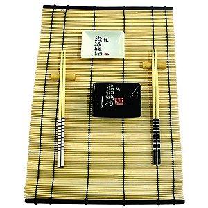 Kit Comida Japonesa para 2 pessoas Branco / Preto - 7 Peças