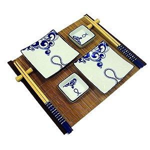 Kit Comida Japonesa para 2 pessoas Azul / Branco - 9 Peças