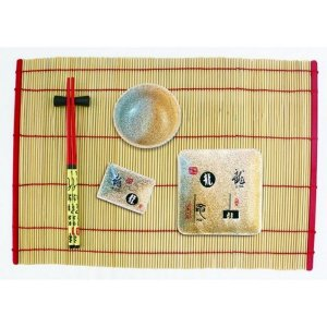Kit Comida Japonesa para 1 Pessoa Vermelho / Marrom - 6 Peças