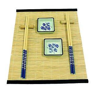 Kit Comida Japonesa para 2 Pessoas Azul / Branco - 7 Peças