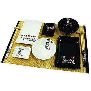Kit Comida Japonesa para 2 Pessoas Branco / Preto - 12 Peças