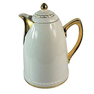 Garrafa Térmica de Porcelana Branca com Detalhes em Dourado - 26 cm
