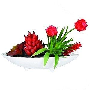 Plantas Artificiais Decorativas com Vaso de Cerâmica Branco - 33 x 27 cm