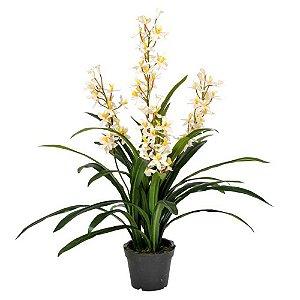 Planta Artificial Decorativa com Flores Brancas - 115 x 56 cm