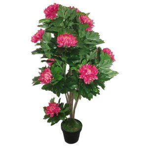 Planta Artificial Decorativa com Flores Rosas - 113 cm