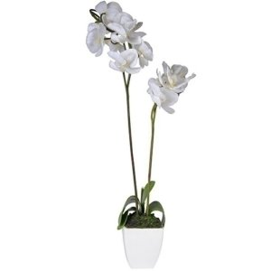 Flor Artificial Decorativa Orquídea Branca - 35 cm