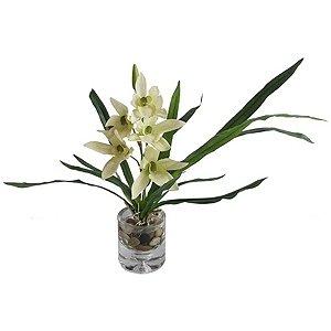 Flor Artificial Decorativa Orquídea Branca com Vaso de Vidro - 25 cm