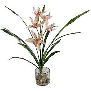 Flor Artificial Decorativa Orquídea Branca com Vaso de Vidro - 34 cm