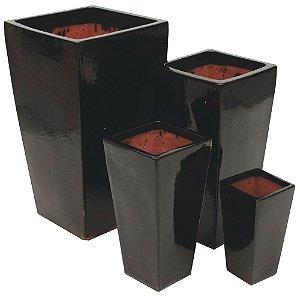 Conjunto de Vasos de Cerâmica Vietnamitas Pretos - 4 Peças