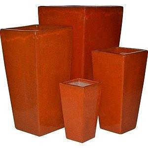 Conjunto de Vasos de Cerâmica Vietnamitas Laranjas - 4 Peças
