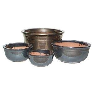 Conjunto de Vasos de Cerâmica Vietnamitas Grafite - 4 Peças