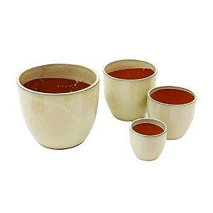 Conjunto de Vasos de Cerâmica Vietnamitas Bege - 4 Peças