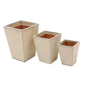 Conjunto de Vasos de Cerâmica Vietnamitas Bege - 3 Peças