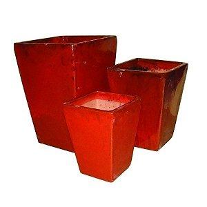 Conjunto de Vasos de Cerâmica Vietnamitas Vermelhos - 3 Peças
