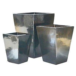 Conjunto de Vasos de Cerâmica Vietnamitas Grafite - 3 Peças