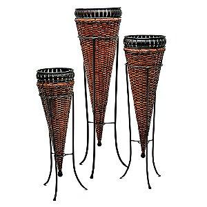 Conjunto de Vasos Decorativos de Ferro e Rattan com Suportes - 3 Peças