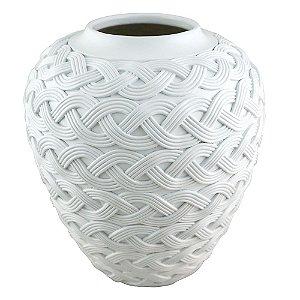 Vaso Decorativo Trançado de Resina Branco - 30 x 26 cm
