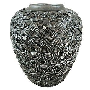 Vaso Decorativo Trançado de Resina Prata - 30 x 26 cm
