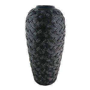 Vaso Decorativo Trançado de Resina Preto - 44 x 21 cm
