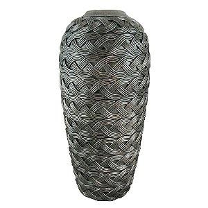 Vaso Decorativo Trançado de Resina Prata - 44 x 21 cm