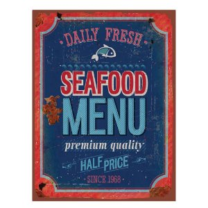 Placa Retangular Decorativa de Metal Seafood Menu -  40 x 30 cm