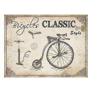 Placa Retangular Decorativa de Metal Bicycles Classic Style - 30 x 40 cm
