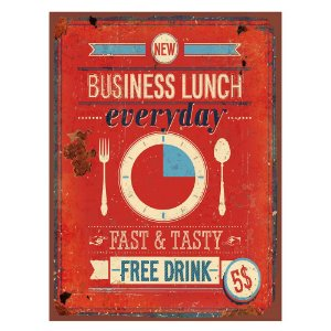 Placa Retangular Decorativa de Metal Business Lunch -  40 x 30 cm