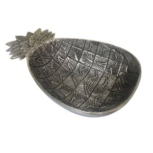 Fruteira Decorativa de Metal formato Abacaxi - 38 x 23 cm