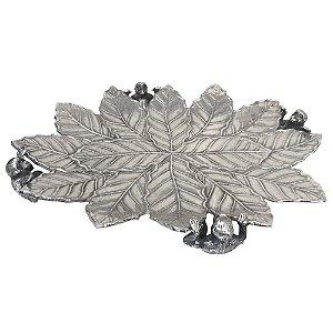 Fruteira Decorativa de Metal formato Folha - 56 x 46 cm