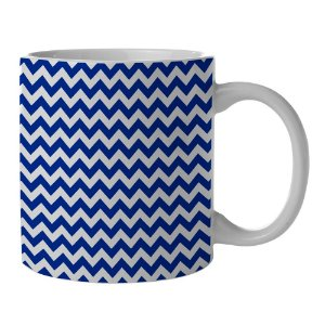 Caneca de Porcelana Branca e Azul New Indigo Point Triangules - 300 ml