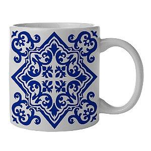 Caneca de Porcelana Branca e Azul New Indigo Portuguese Tile - 300 ml
